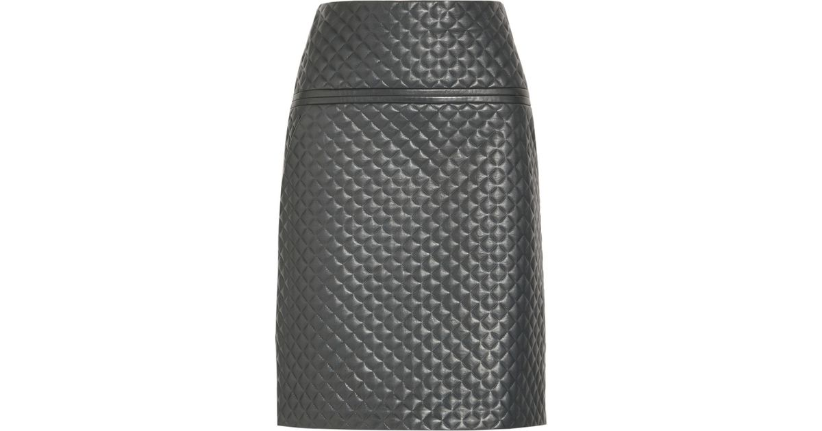 Chloé Quilted Leather Skirt in Green | Lyst