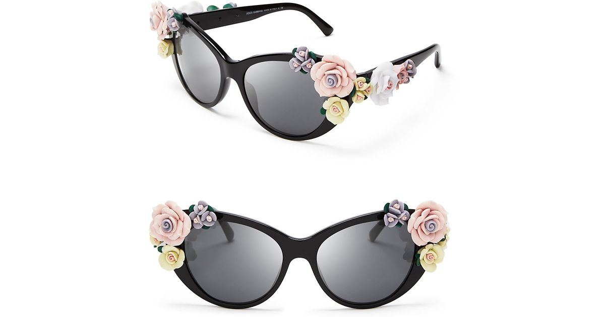 dc0524fa405 Dolce   Gabbana Oversized Floral Cat Eye Sunglasses in Black - Lyst