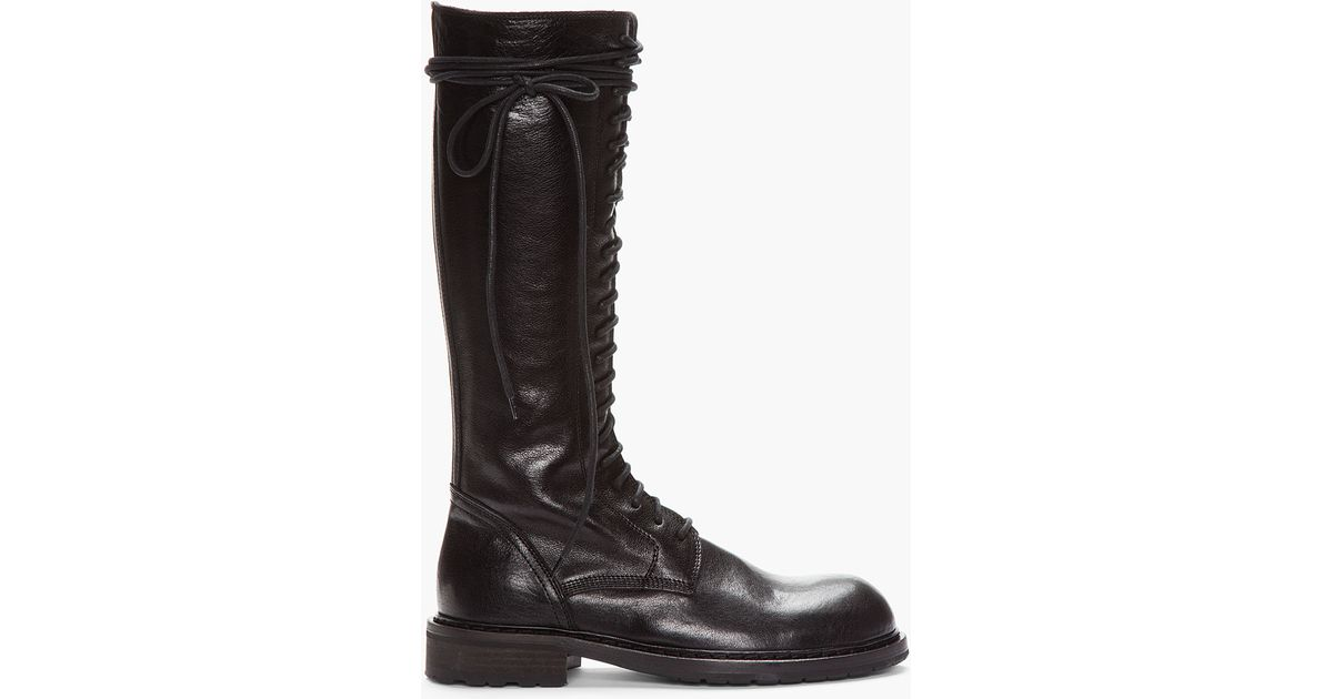Black Leather Lace_up Boots for Men - Lyst