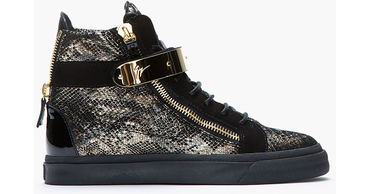 Lyst - Giuseppe Zanotti Black and Gold Printed Python London Sneakers in  Black 1e62ee806c10