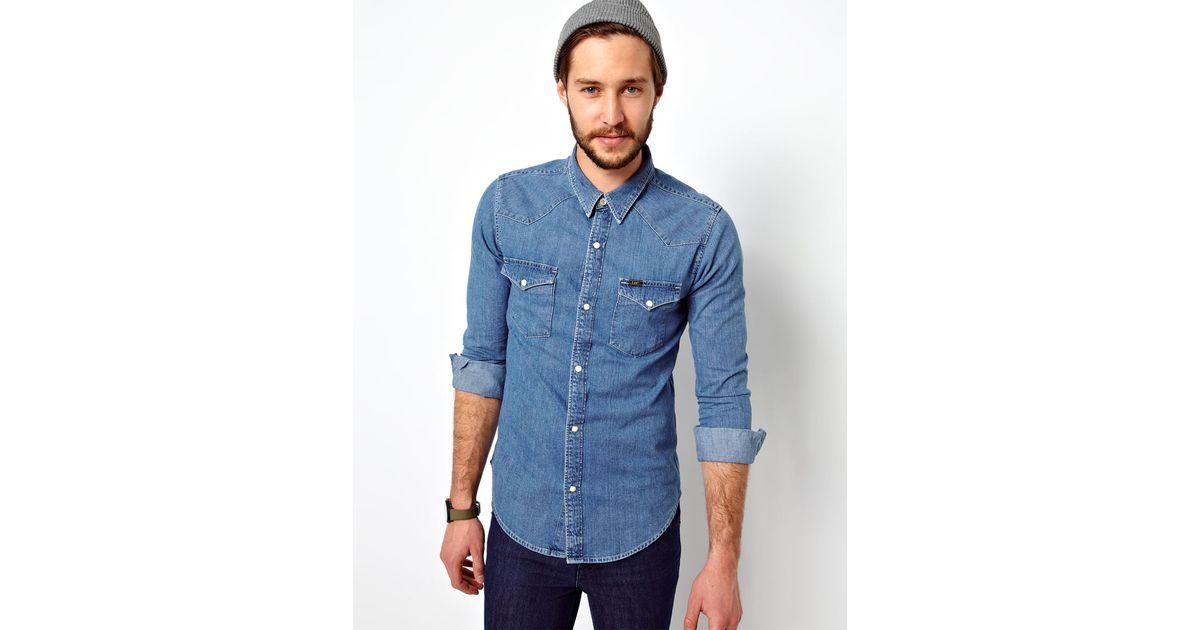 Lee jeans Denim Shirt Western Slim Fit Light Stone
