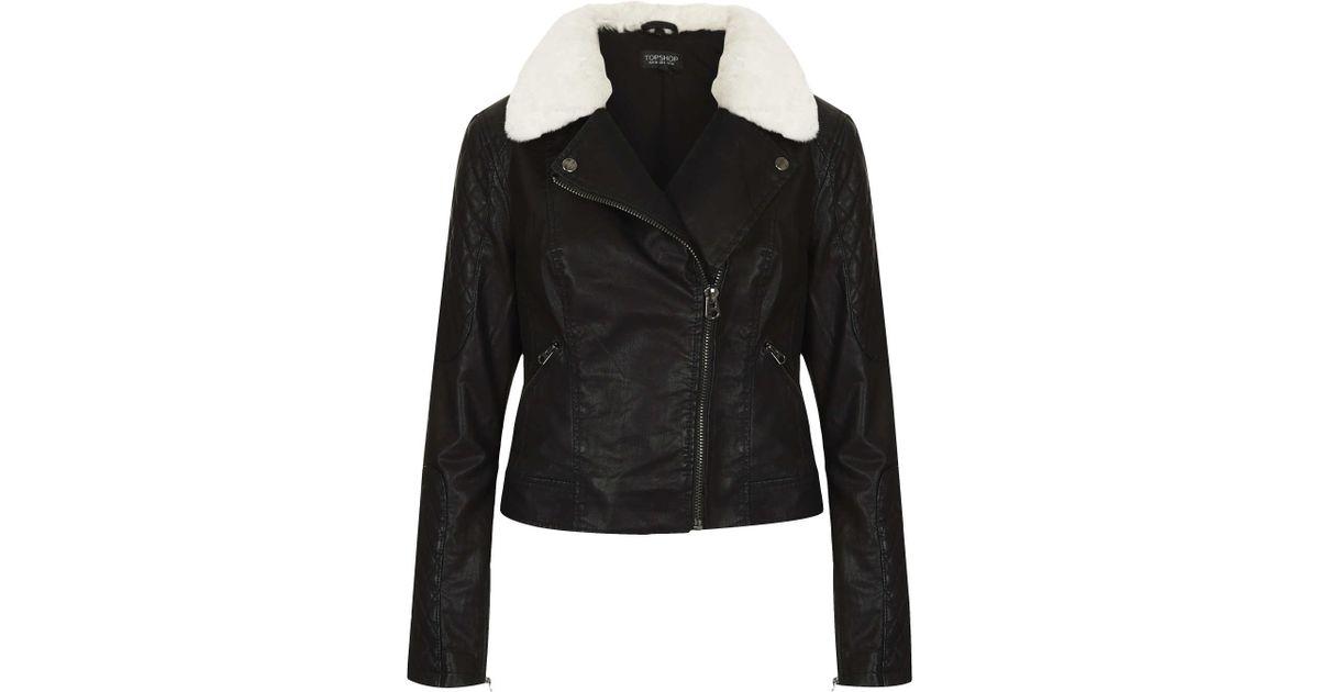 Topshop Jenson Fur Collar Biker Jacket In Black Lyst