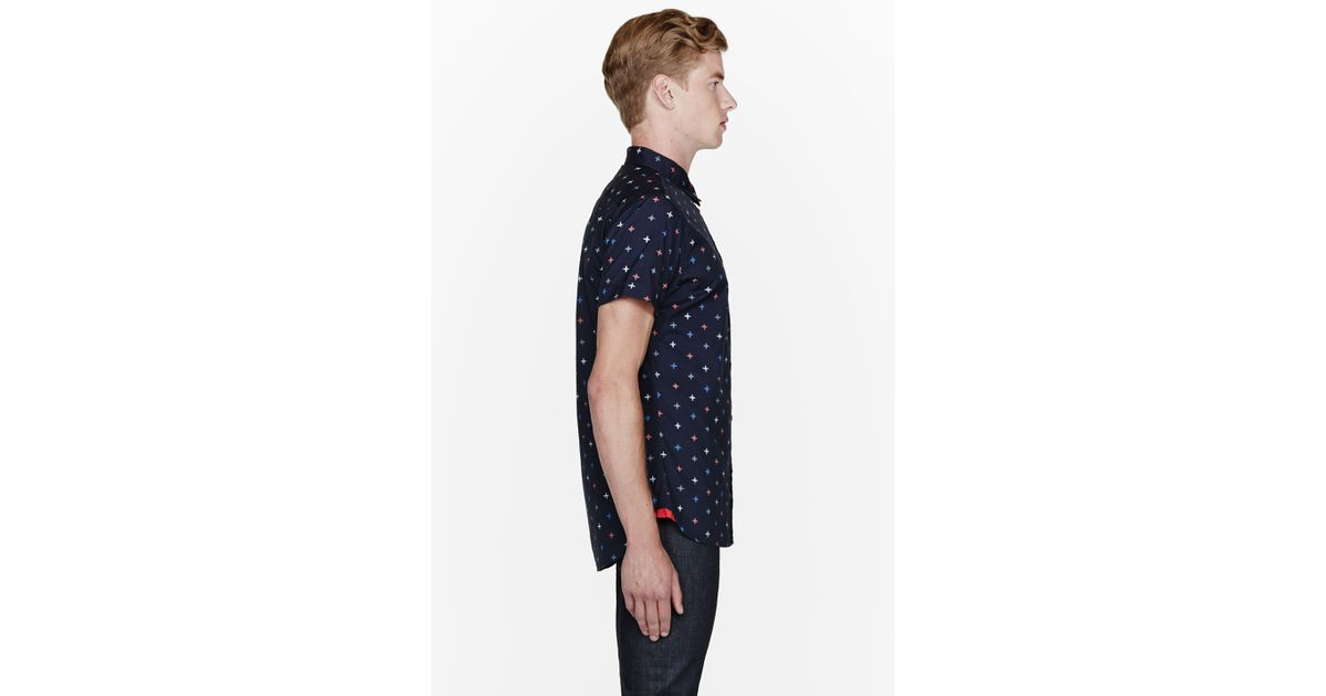 f27888bacad Lyst - Marc By Marc Jacobs Navy Blue Morris Star Buttoned Shirt in Blue for  Men