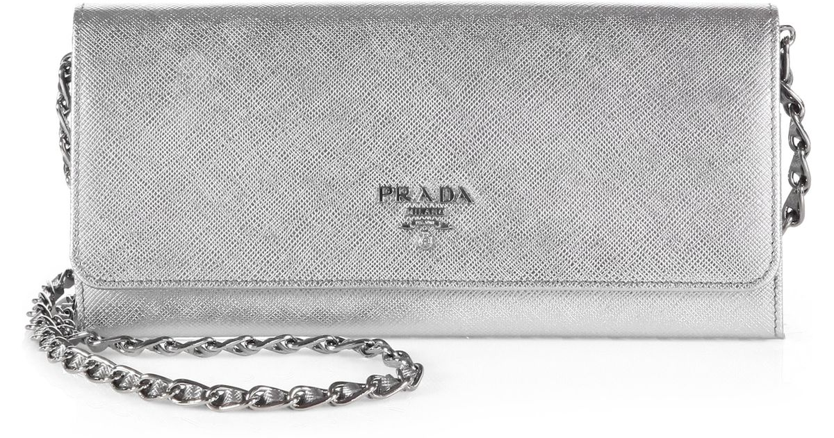 9bf29bd7aa1e71 ... shopping lyst prada saffiano metal oro wallet with chain in metallic  efee3 24818