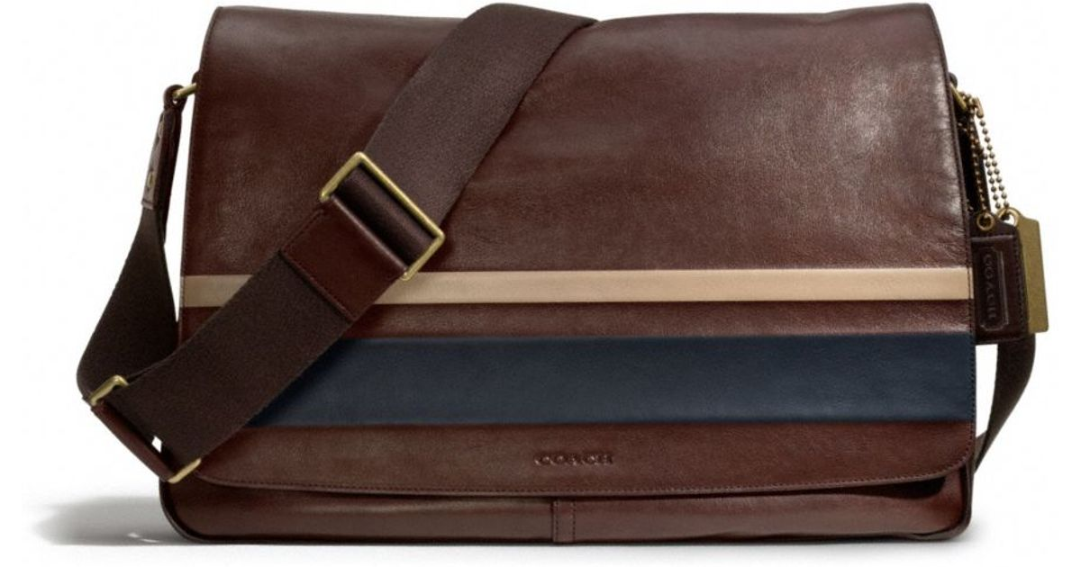 6fb4b9633926 Lyst - COACH Bleecker Courier Bag in Debossed Painted Stripe Leather in  Brown for Men