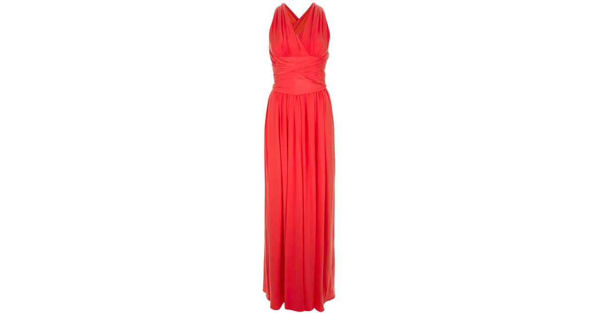Lyst - Halston Grecian Style Gown in Red