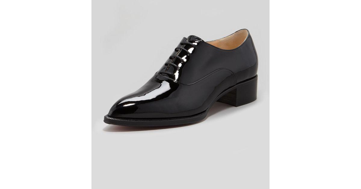 6a7c5c97a5b2 ... canada lyst christian louboutin zazou pointedtoe red sole derby flat  black in black for men 45d4d