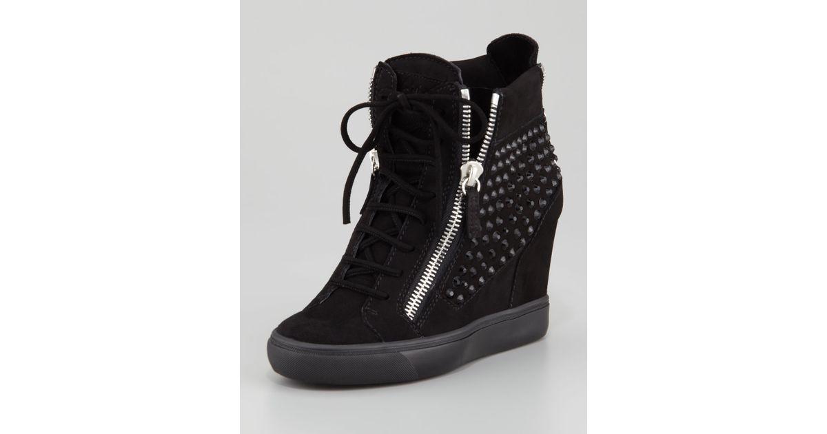 8782d9bf013 Lyst - Giuseppe Zanotti Rhinestone Wedge Sneaker in Black