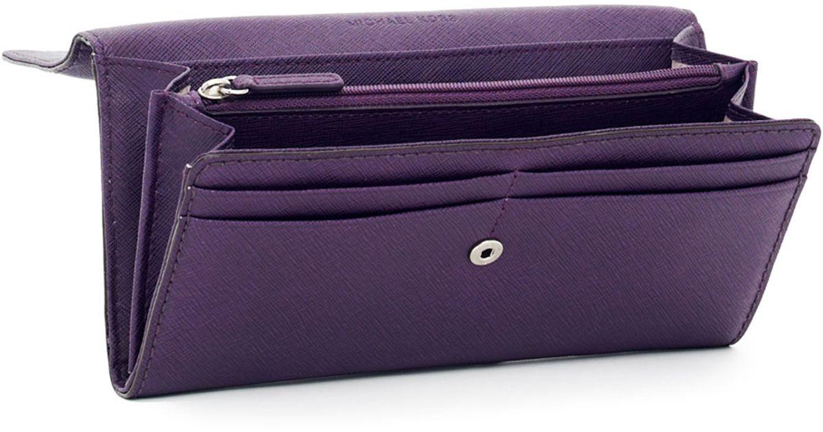 5d8de958a MICHAEL Michael Kors Hamilton Large Saffiano Wallet in Purple - Lyst