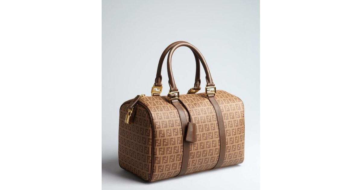 b254dc1c8d Lyst - Fendi Walnut Zucchino Canvas and Leather Trimmed Small Forever  Satchel in Brown