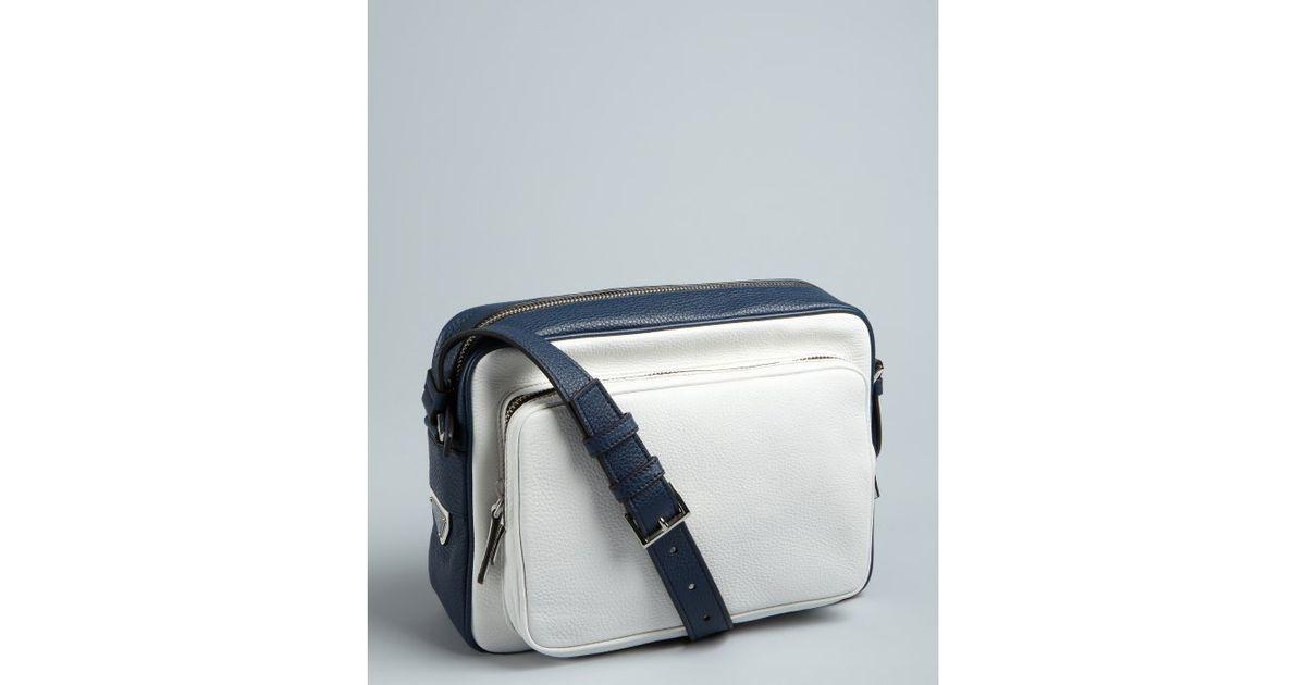 Prada Baltic Blue and White Pebbled Leather Crossbody Retro Style ... - Prada tote baltic blue