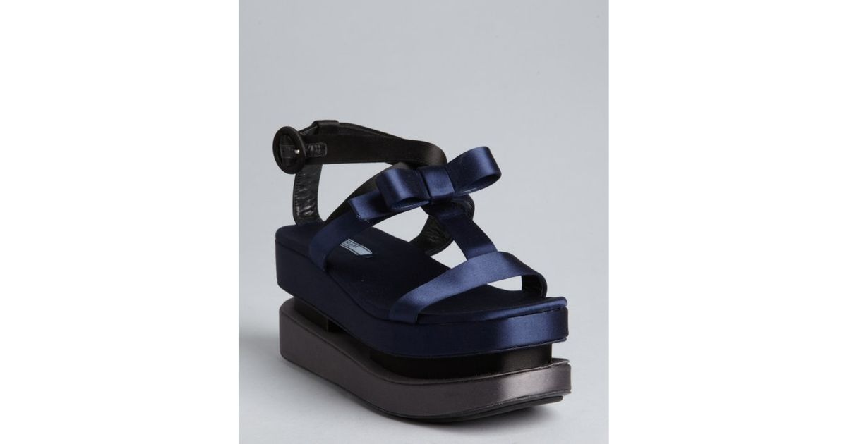bfb371663f62 Prada Navy and Grey Satin Strappy Bow Dual Platform Sandals in Blue - Lyst