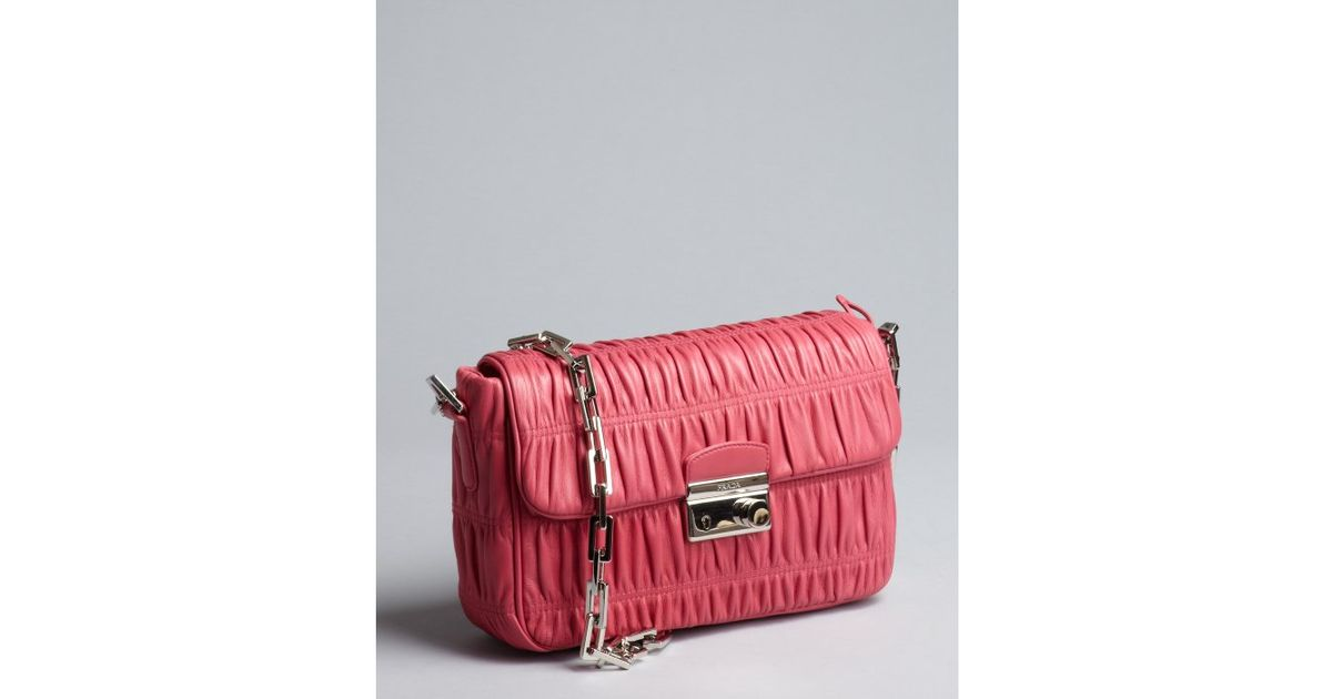 c4a52f22f221 ... spain prada small concept tote lyst prada hot carnation pink gaufre  lambskin chain strap shoulder bag ...