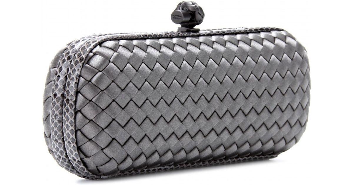 8c8ebe84170 Lyst - Bottega Veneta Stretch Knot Satin Baguette Clutch with Snake-skin in  Metallic