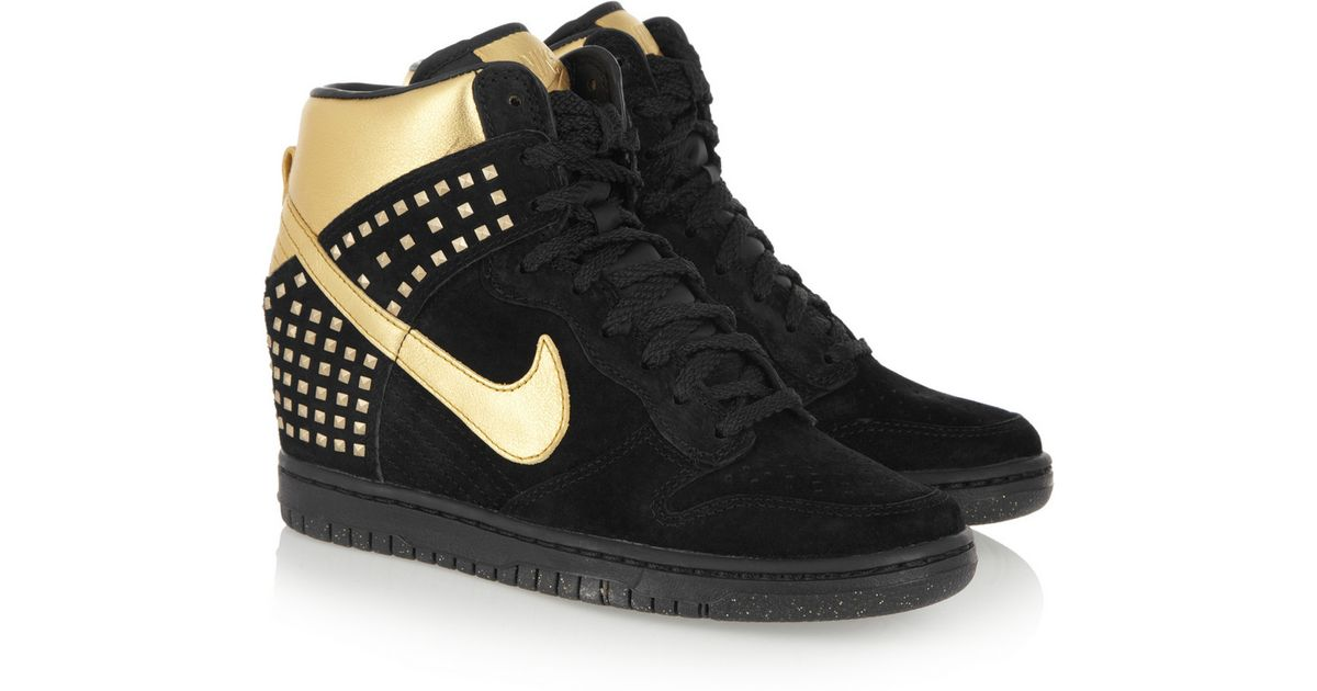 Nike Dunk Sky Hi Suede and Metallic Leather Wedge Sneakers in Black - Lyst 12ebe94430