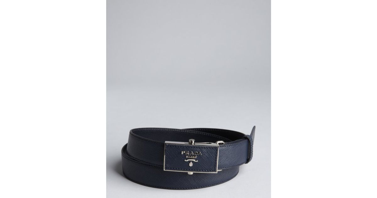 Prada Baltic Blue Leather Sliding Plaque Buckle Belt in Blue for ...