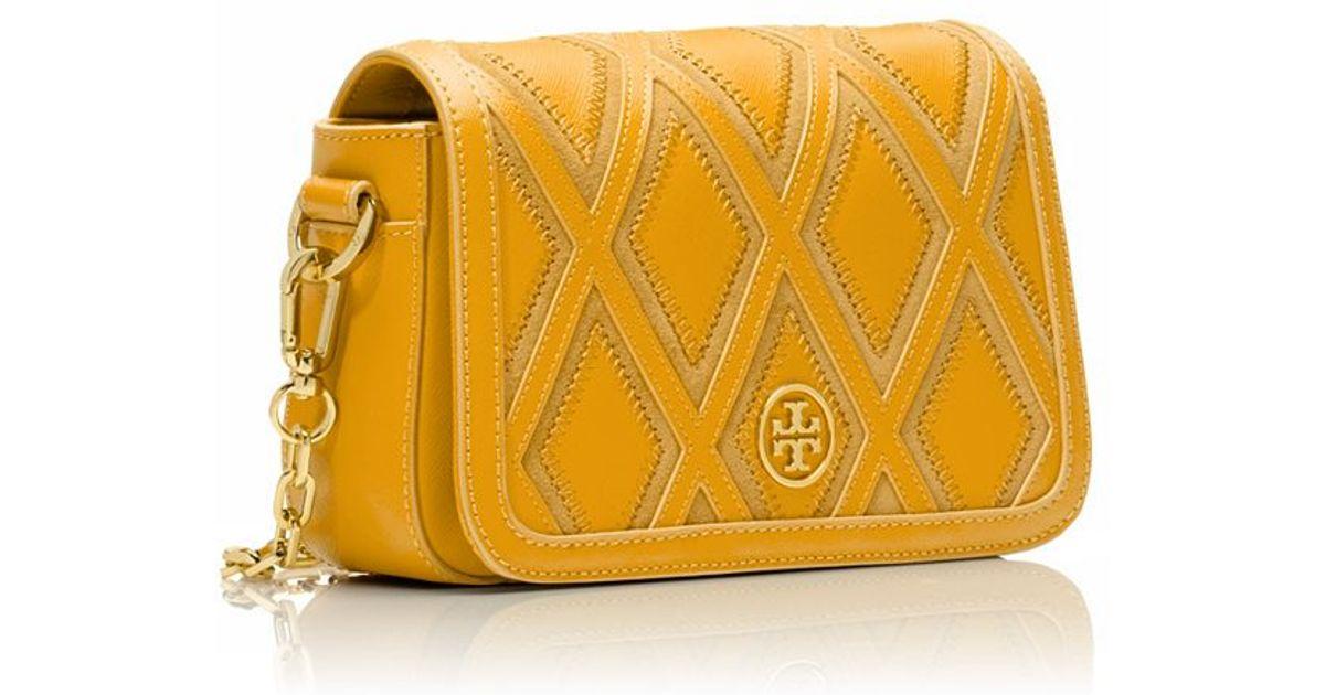 17b3ef616e Tory Burch Robinson Patchwork Chain Mini Bag in Yellow - Lyst