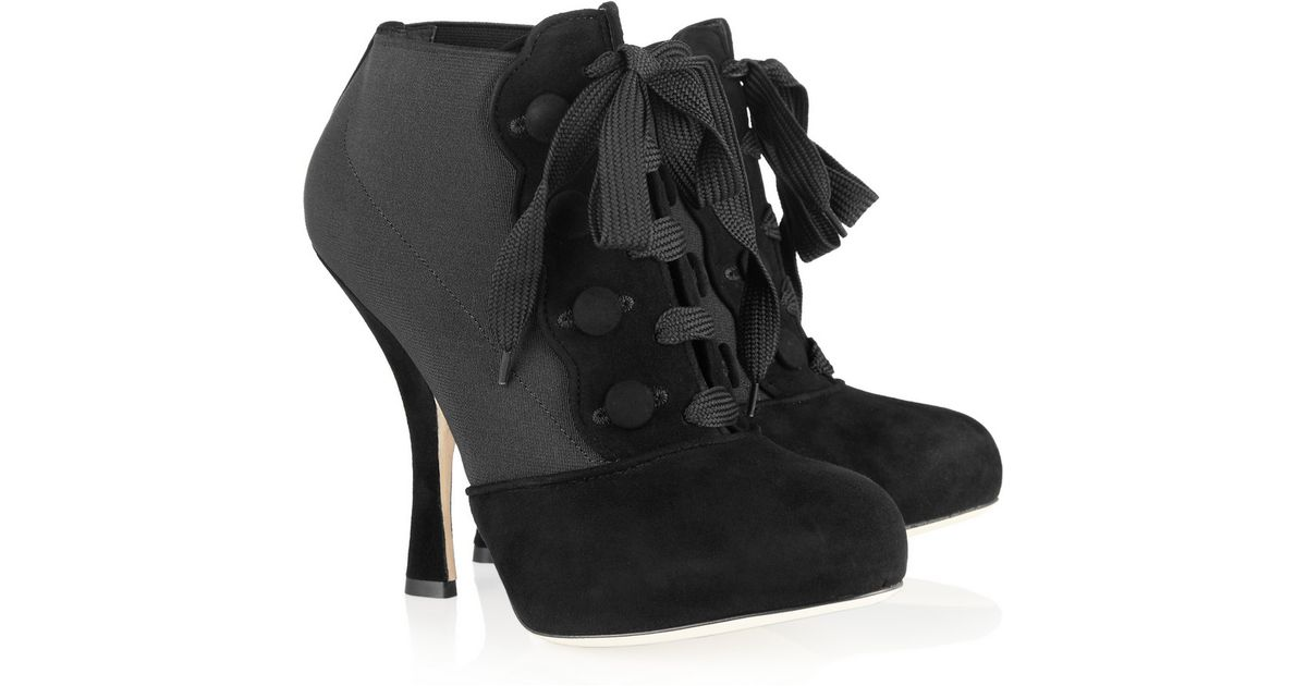 7f98cd10a6 Dolce   Gabbana Laceup Suede and Stretch Ankle Boots in Black - Lyst