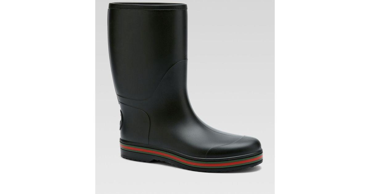 Gucci Brest Black Rubber Rain Boots for
