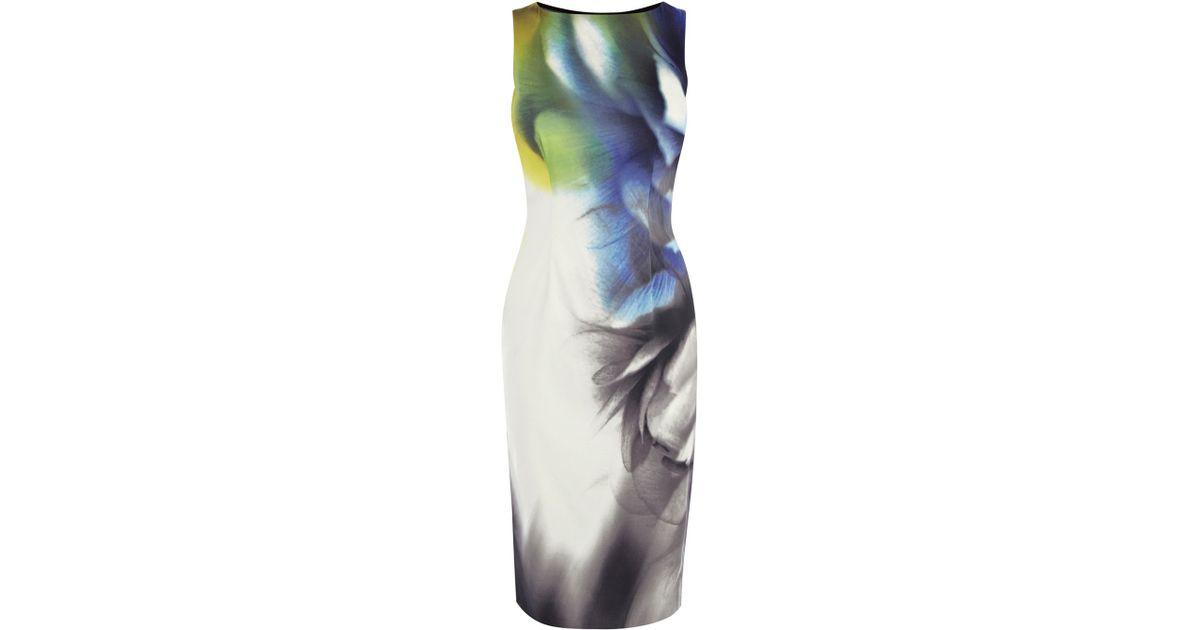 73d930d1633 Karen Millen Smokey Placed Print Pencil Dress - Lyst