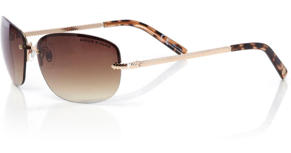 ea9b6fb51cc Karen Millen Rimless Sunglasses in Metallic - Lyst