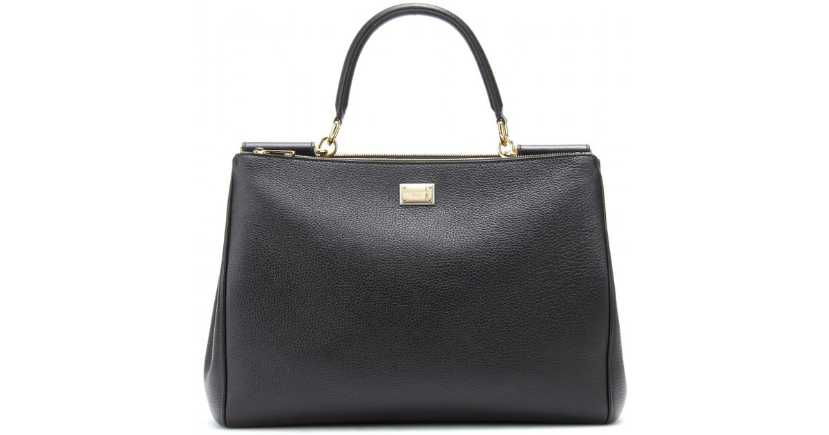Lyst - Dolce   Gabbana Miss Sicily Textured leather Tote in Black 7be3eac4f41