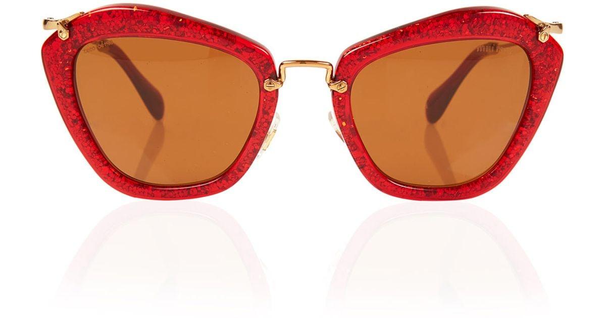 Glitter Red Glitter Noir Noir Sunglasses Sunglasses Noir Red Miu Glitter Miu Red Miu CrBedxo