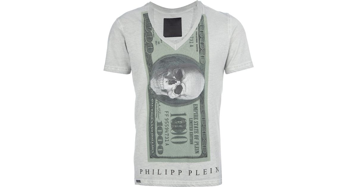 Philipp Plein Gray Skull Dollar Print Tshirt for men
