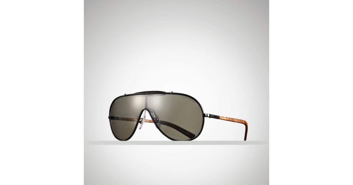 c6649d38a296 Polo Ralph Lauren Auto Aviator Shield Sunglasses in Black for Men - Lyst