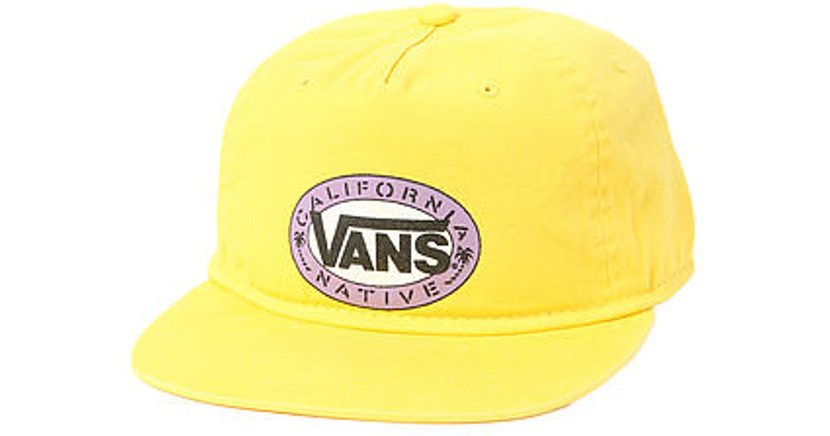 Lyst - Vans The California Stencil Snapback Hat in Yellow for Men 3d1e35e6c7d