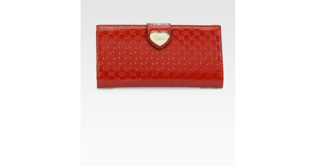 7140db7a45c Lyst - Gucci Heart Microguccissima Patent Leather Continental Wallet in Red
