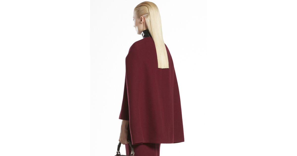 6f1ddac1c80 Lyst - Gucci Wool Cape Coat in Red