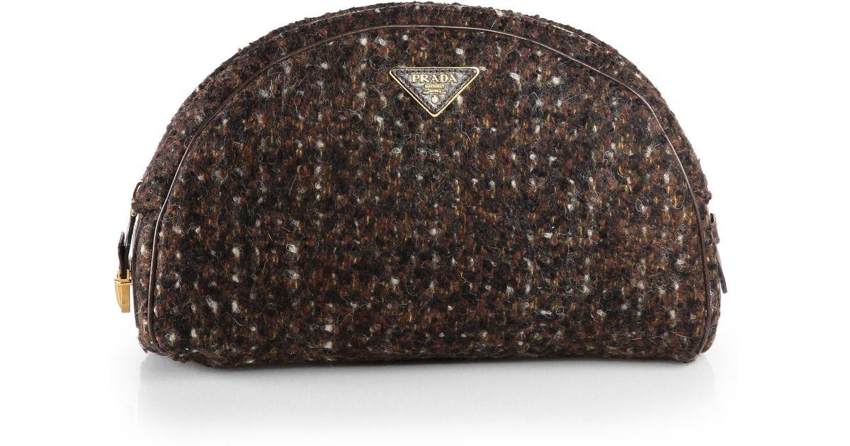 f007f2ea Prada Brown Wool Boucle Bowler Clutch