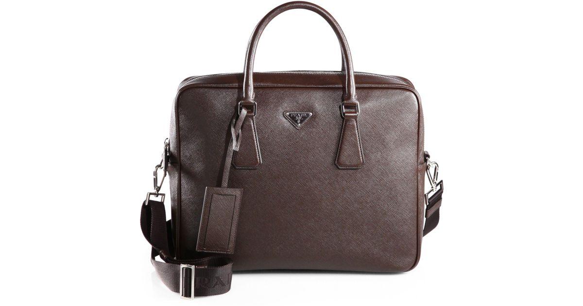 a3af040e7c558d Prada Saffiano Travel Briefcase in Brown for Men - Lyst