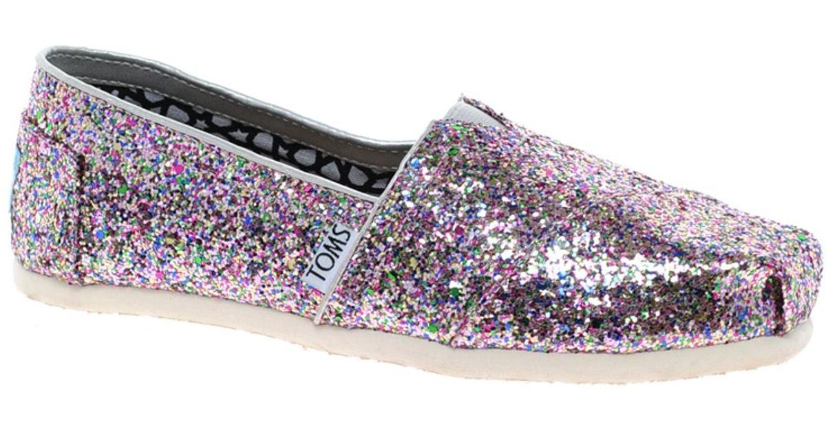 5b6b98c71691 Lyst - TOMS Bright Multi Glitter Flat Shoes in Metallic