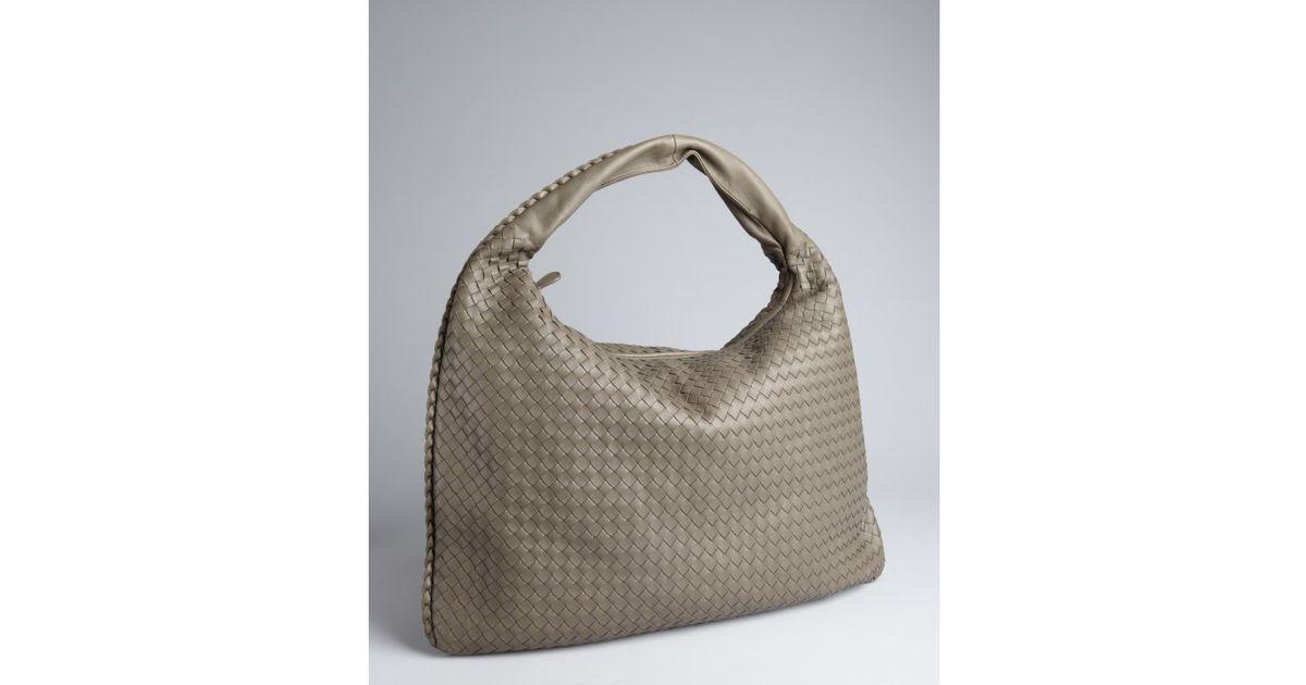 e9f3691009 Lyst - Bottega Veneta Shadow Intrecciato Leather Maxi Veneta Hobo in Gray