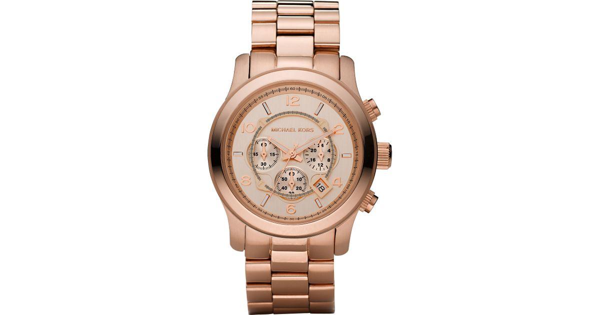 f84c0196dc0a Lyst - Michael Kors Rose Golden Runway Oversized Chronograph Watch in  Metallic for Men