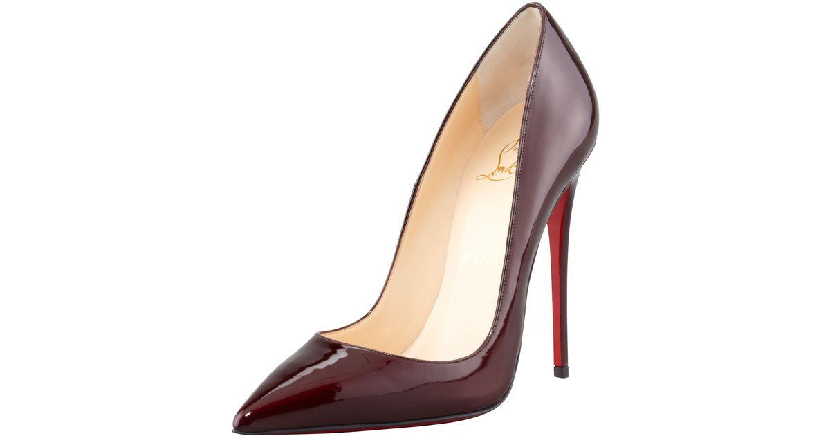 nouveau concept 896df e56d3 Christian Louboutin Red So Kate Patent Leather Pointtoe Pump Rouge Noir