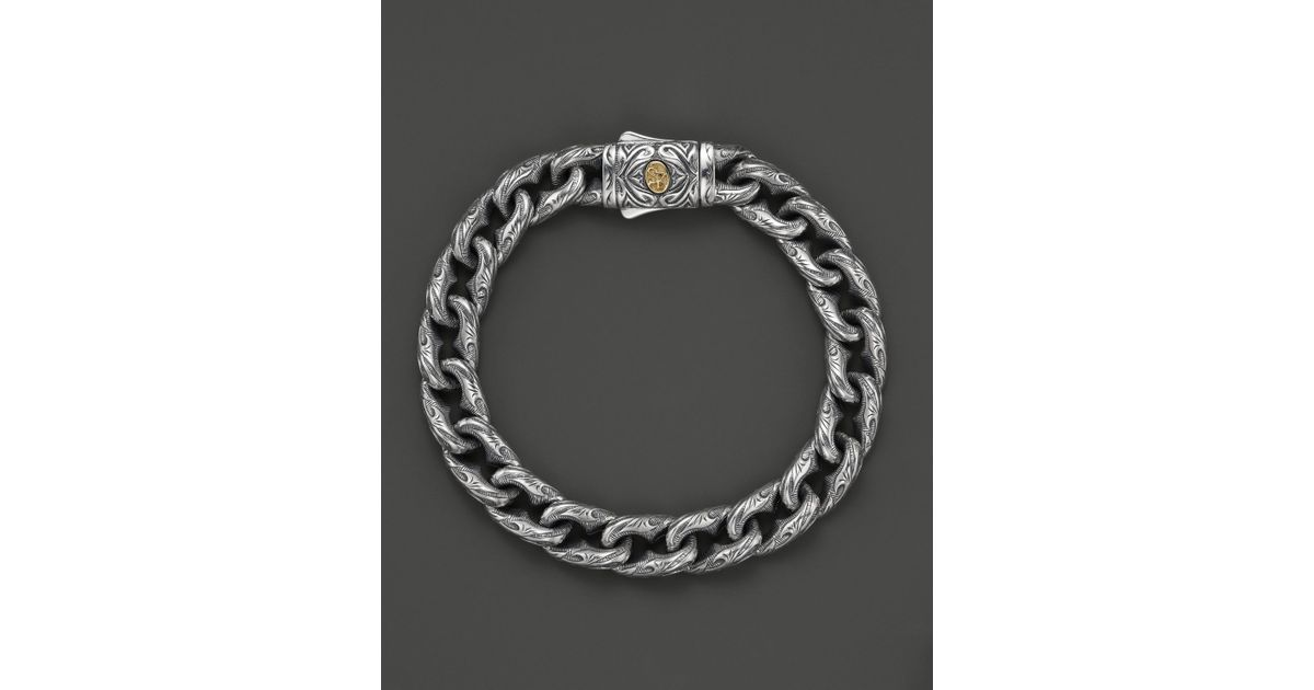 Lyst Scott Kay Mens Sterling Silver Engraved Twisted Anchor Bracelet With 18k Gold Accent Clasp In Metallic For Men