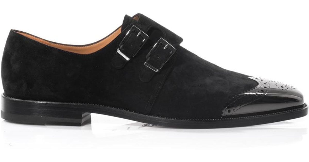 9cd5ca837bd Christian Louboutin Black Vikram Monkstrap Suede Shoes for men