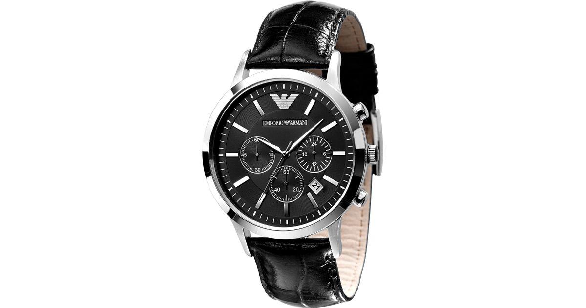 fb46b0404 Emporio Armani Watch, Men's Black Leather Strap Ar2447 in Black for Men -  Save 7% - Lyst