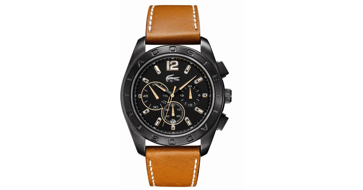 Lyst - Lacoste Mens Chronograph Panama Tan Leather Strap 46mm in Orange for Men