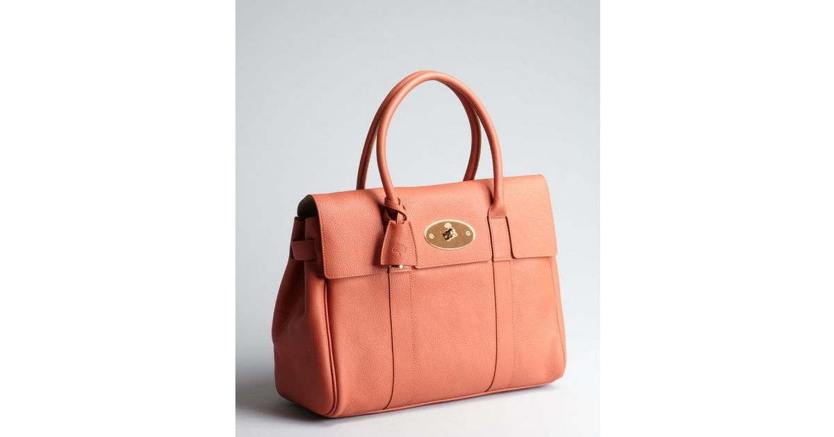 5dd22d5300 ... ireland lyst mulberry burnt peach leather bayswater top handle bag in  orange e9bfe 5a518