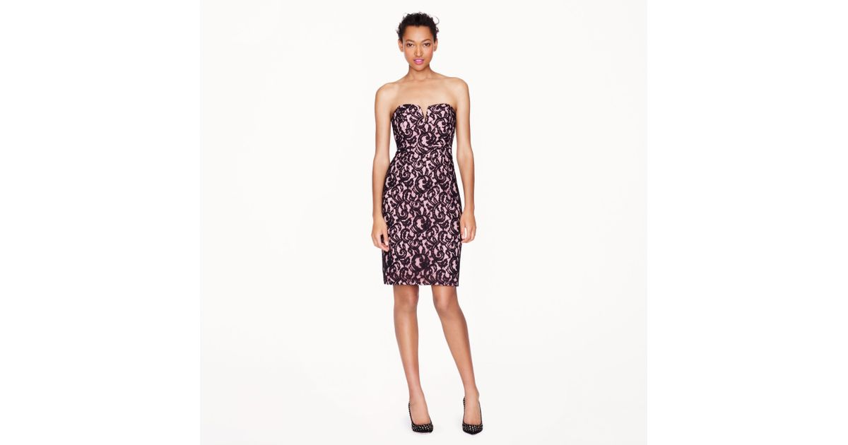 J Crew Collection Strapless Lace Dress In Black Lyst