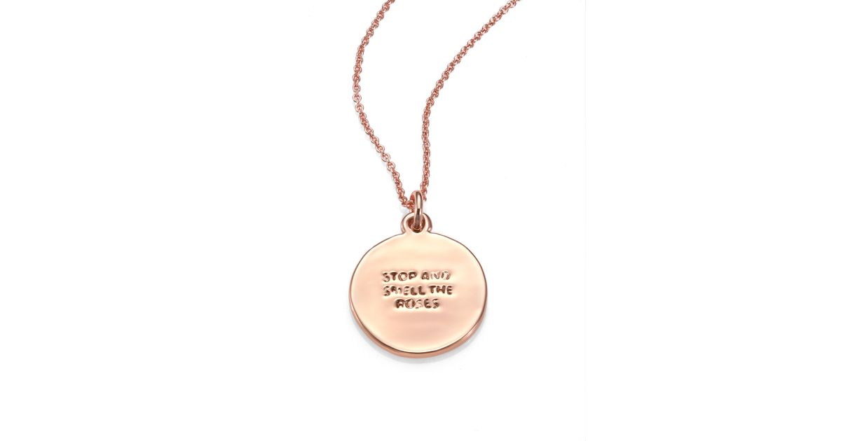 lyst kate spade new york rose is a rose pendant necklace in metallic