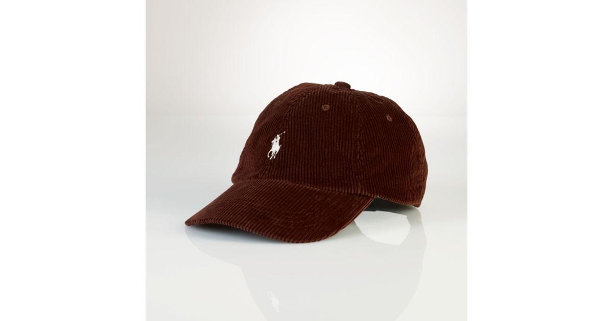 cef27b391b Polo Ralph Lauren Corduroy Sports Cap in Red for Men - Lyst