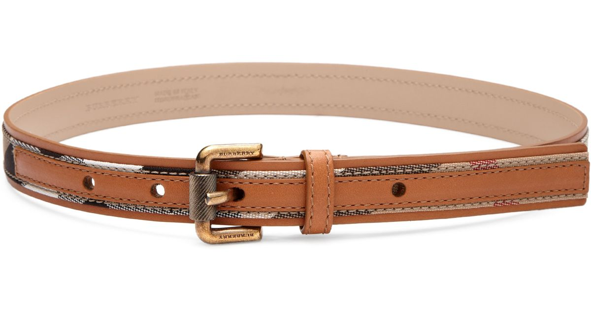 06bd9257c866 ... where to buy lyst burberry kids check trim leather belt in natural  dfdef e63a0