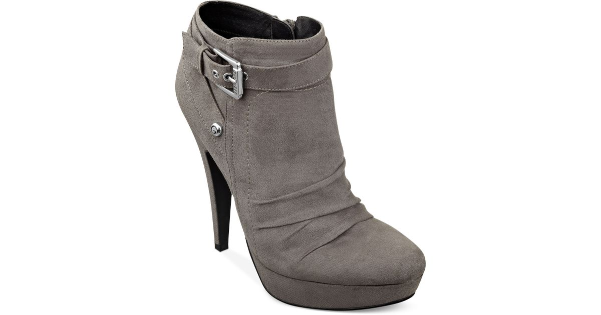 c99b87e2faf Lyst - G by Guess Delicacy Booties in Gray