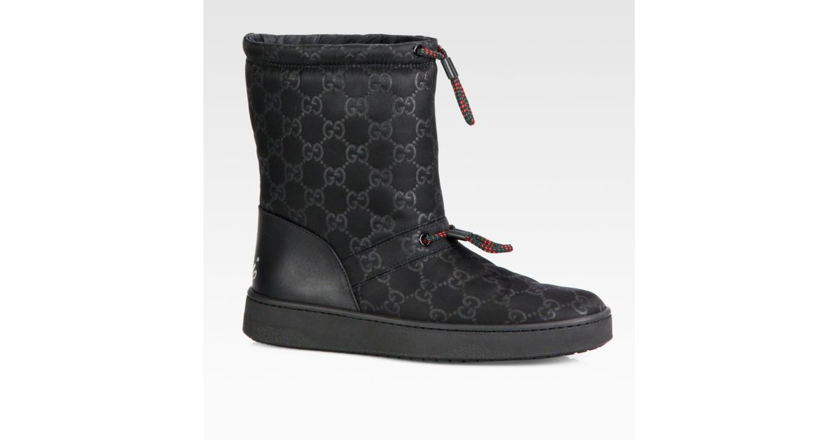 best place shop best sellers performance sportswear Gucci Black Sima Leather-Trimmed Snow Boots