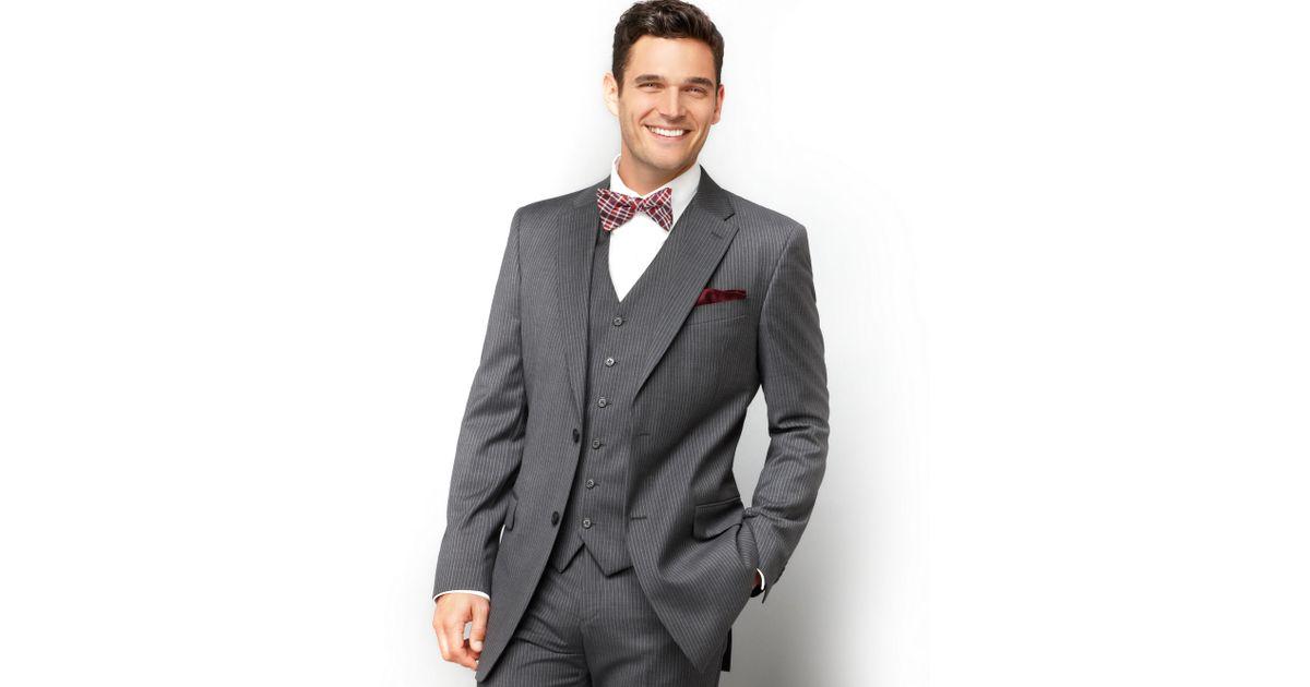 tommy hilfiger jacket grey stripe two button slim fit in. Black Bedroom Furniture Sets. Home Design Ideas